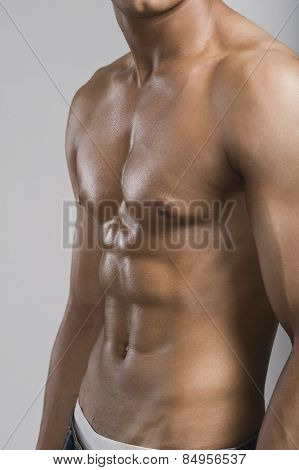 Mid section view of a bare chested man