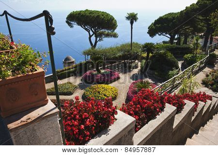 High angle view of a garden, Amalfi, Province Of Salerno, Gulf Of Salerno,Tyrrhenian Sea, Campania, Italy