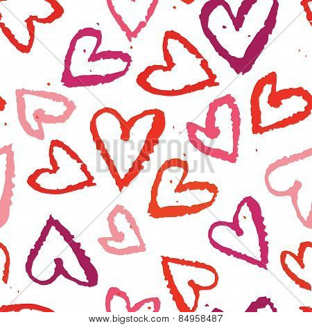 Abstract Seamless Background, Watercolors Heart Symbols