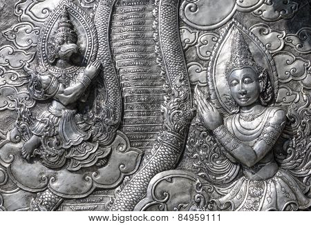 Ancient Thai Metal Temple Wall Sculpture