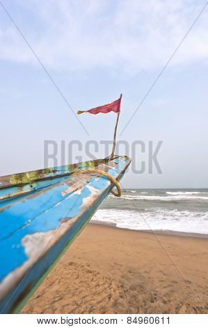 Small flag on the bow of a fishing boat, Puri, Orissa, India