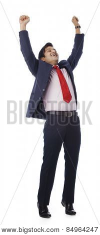 Businessman looking excited
