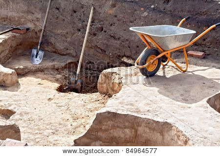 Tools at the site Archaeological excavations