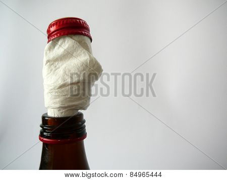 Serviette in beer bottle