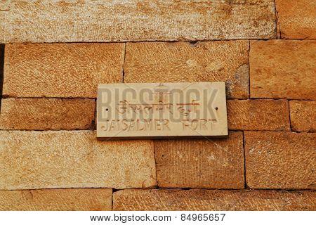 Sign on fort wall, Jaisalmer Fort, Jaisalmer, Rajasthan, India