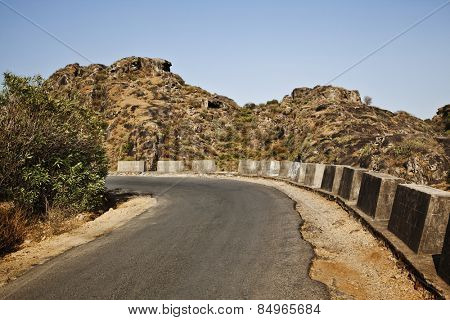 Road passing through a mountain range, Guru Shikhar, Arbuda Mountains, Mount Abu, Sirohi District, Rajasthan, India