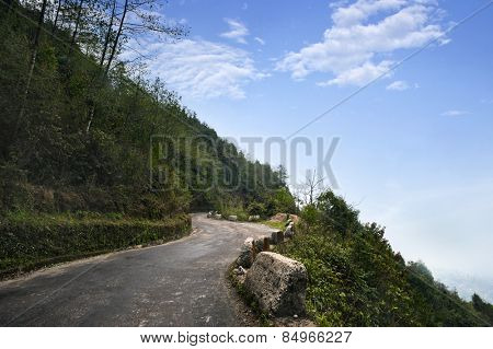 Road passing through a mountain, Darjeeling, West Bengal, India