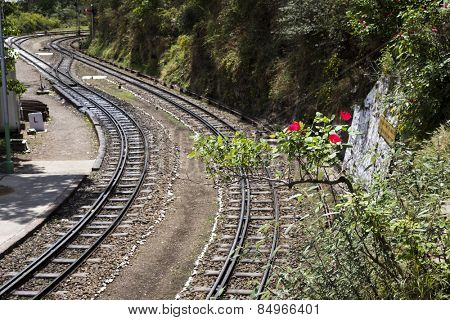 Railroad tracks in the valley, Shimla, Himachal Pradesh, India