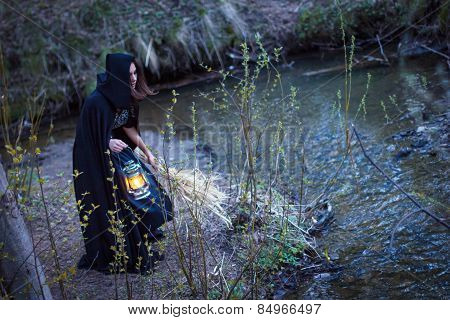 Girl With A Lantern At The River