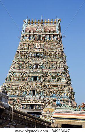 Low angle view of Kapaleeshwarar Temple, Mylapore, Chennai, Tamil Nadu, India