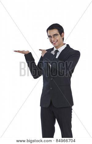 Portrait of a businessman gesturing