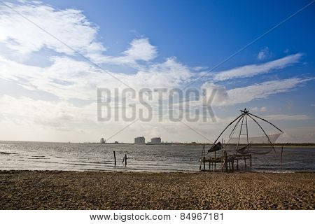 Chinese fishing nets on the beach, Cochin, Kerala, India