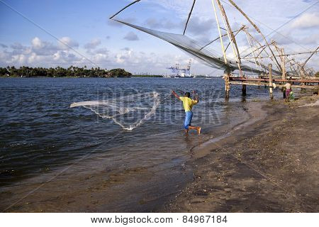 Fisherman fishing in the sea, Cochin, Kerala, India