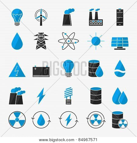 Energy or electricity icon set