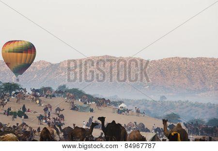 Hot air balloon over Pushkar Camel Fair ground, Pushkar, Ajmer, Rajasthan, India
