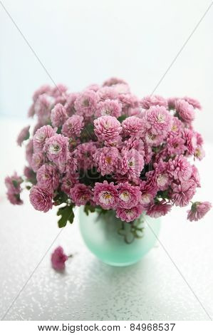 Vase With Bouquet Of Chrysanthemums