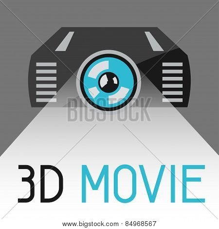 Background with 3d movie projector