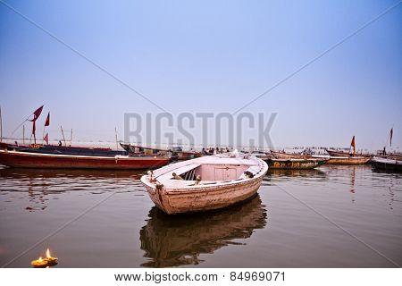 Boats at Rajendra Prasad Ghat, Ganges River, Varanasi, Uttar Pradesh, India