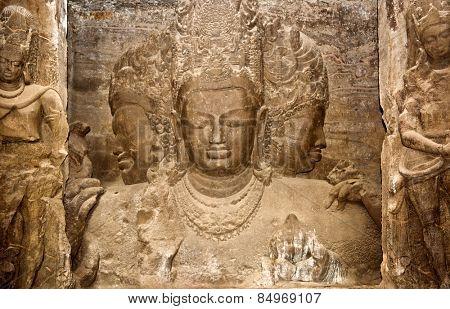 Trimurti sculpture at Elephanta Caves, Maharashtra, India