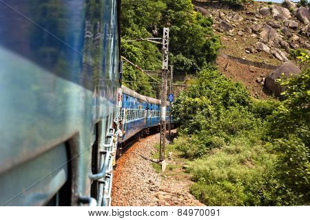 Train moving on a railroad track, Visakhapatnam, Andhra Pradesh, India