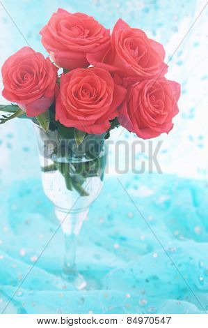 Orange Roses In Clear Glass, Tinted