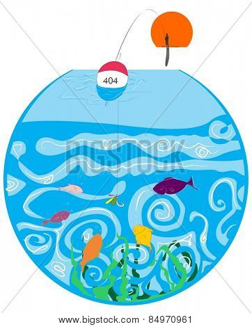 Illustrative representation of fishes swimming in a fish bowl