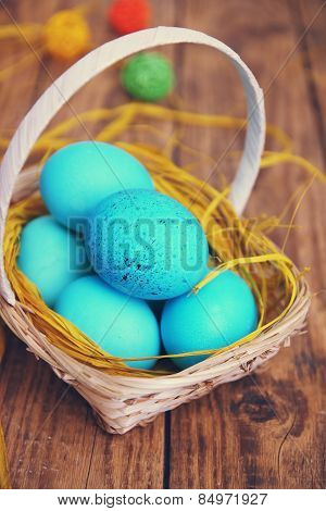 Blue Eggs In The Basket, Tinted