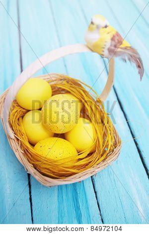 Basket With Yellow Bird