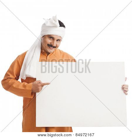 Portrait of a man holding a placard