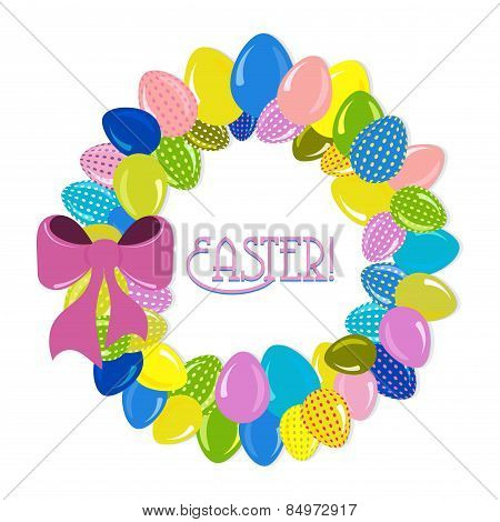 Wreath Of Easter Eggs Vector