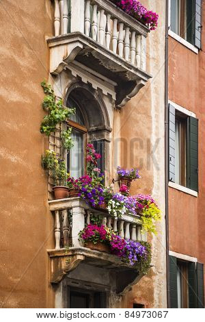 Low angle view of a balcony of residential building, Venice, Veneto, Italy