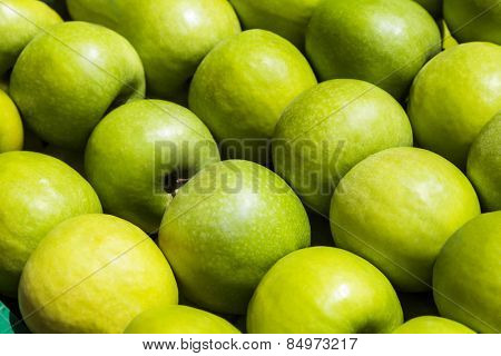 Close-up of granny smith apples, Rome, Rome Province, Lazio, Italy