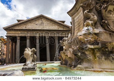 Fountain with church in the background, Pantheon Rome, Rome, Rome Province, Lazio, Italy
