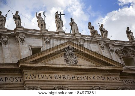 Low angle view of a church, St. Peter's Basilica, St. Peter's Square, Vatican City, Rome, Rome Province, Lazio, Italy