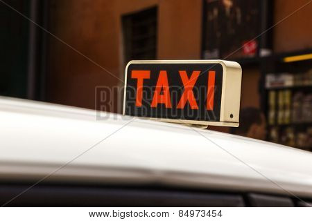 Close-up of a taxi sign on a taxi, Rome, Rome Province, Lazio, Italy