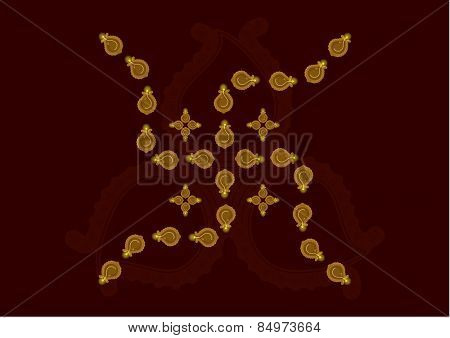 Diwali Oil lamps in formation of Swastika isolated on brown background