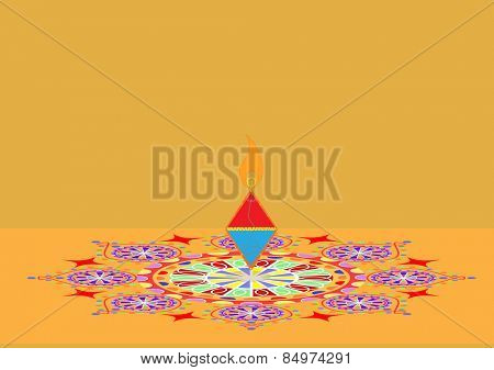 Diwali firecracker on rangoli isolated on orange background