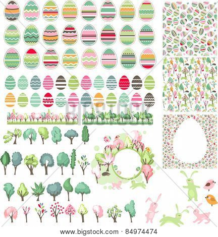 Big collection with easter eggs, seamless patterns and spring trees