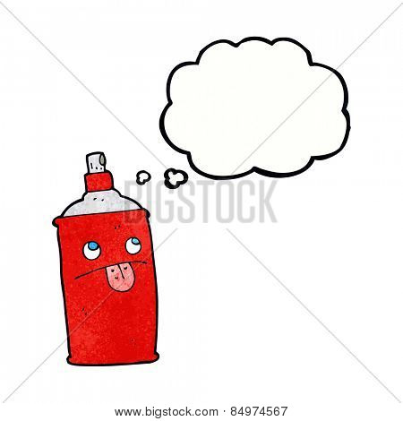 cartoon spray can with thought bubble