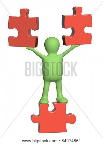 Puppets with puzzles. Isolated on white background