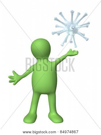 Puppet with virus. Isolated on white background
