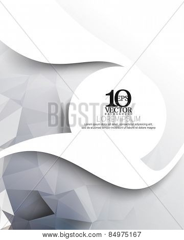 eps10 vector blank thick white waves and round frame with triangular background elements