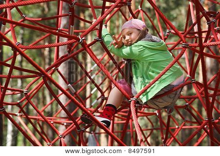 Little Girl On Jungle Gym Ropes