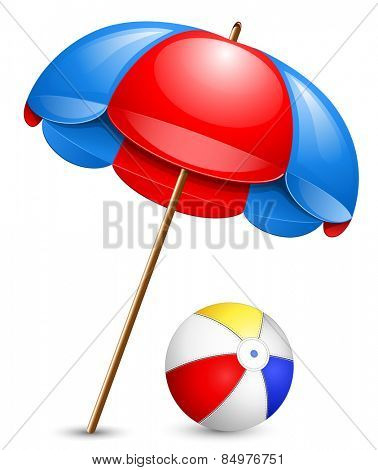 Beach umbrella and beach ball.  Vector illustration.