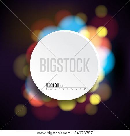round white frame with night lights bokeh background eps10 vector illustration
