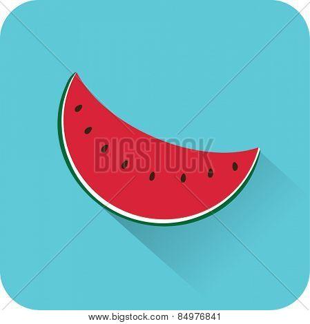 Slice watermelon icon. Flat design style modern vector illustration
