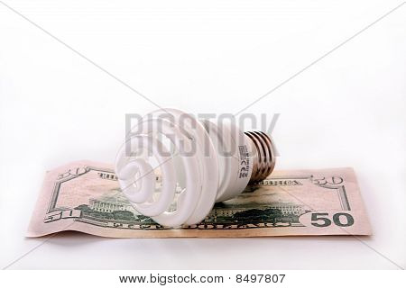 Fluorescent bulb with money