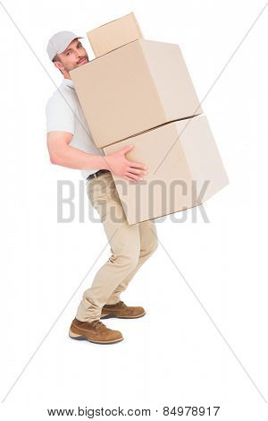 Tired delivery man carrying stack boxes on white background