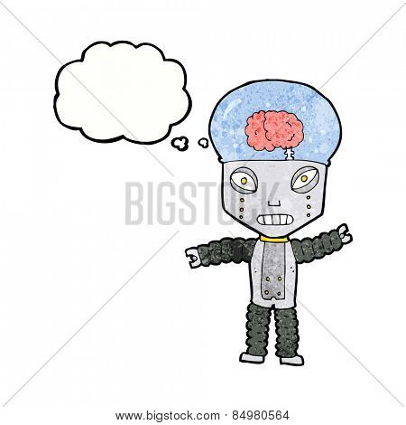 cartoon future robot with thought bubble