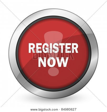register now red icon